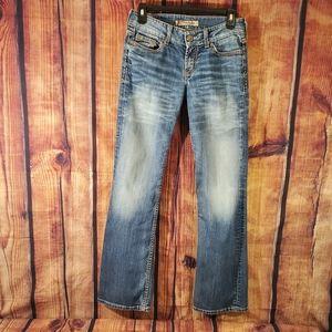 💥 BKE Culture Ladies Low-Rise Bootcut Acid Washed 5 Pocket Design Blue Jeans